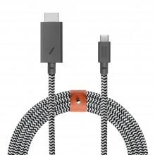 Native Union Belt HDMI - kabel ze złączem USB-C do HDMI ze skórzanym zapięciem, 3m (zebra)