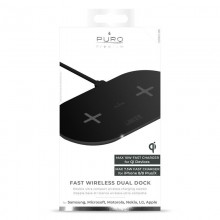 PURO Fast Wireless Dual Dock - Bezprzewodowa ładowarka indukcyjna Qi do iPhone i Android, 2x10 W (czarny)