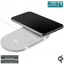PURO Fast Wireless Dual Dock - Bezprzewodowa ładowarka indukcyjna Qi do iPhone i Android, 2x10 W (biały)
