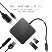 Green Cell - Adapter, Przejściówka, HUB USB-C 6w1 (USB 3.0 HDMI Ethernet USB-C)