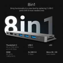 Green Cell Connect60 - Adapter HUB 8w1 (Thunderbolt 3, USB-C, HDMI, 3x USB 3.0)