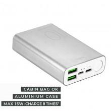 PURO Compact Power Bank - Power bank dla smartfonów i tabletów 10000 mAh 2 x USB-A, 1 x USB-C, 15W, Li-Poly (srebrny)