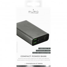PURO Compact Power Bank - Power bank dla smartfonów i tabletów 10000 mAh 2 x USB-A, 1 x USB-C, 15 W Li-Poly (space grey)