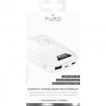 PURO Compact Power Bank - Power bank dla smartfonów i tabletów 10000 mAh, USB-A, USB-C, 15 W + wyświetlacz LED (biały)