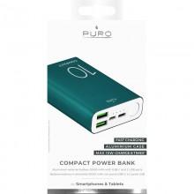 PURO Compact Power Bank - Power bank dla smartfonów i tabletów 10000 mAh 2 x USB-A, 1 x USB-C, 15W, Li-Poly (zielony)