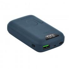 PURO Compact Power Bank - Power bank dla smartfonów i tabletów 10000 mAh, USB-A, USB-C, 15 W + wyświetlacz LED (niebieski)