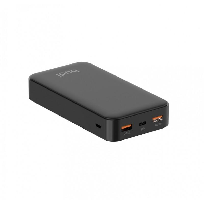 Budi - Power bank 20 000 mAh, LED, 2x USB QC 3.0 + USB-C Power Delivery (Czarny)
