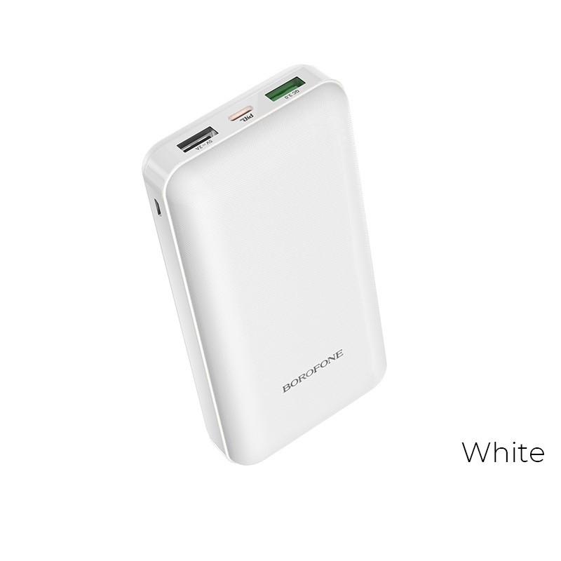 Borofone - power bank 20 000 mAh 74Wh ze złączami PD i QC3.0, biały