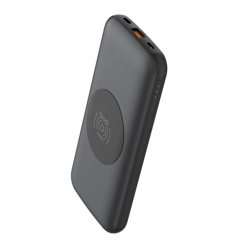 Budi - Power bank 10 000 mAh, USB QC3.0 + USB-C PD + ładowarka indukcyjna (Czarny)