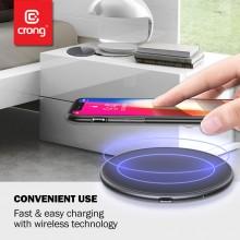 Crong Fast Wireless Charger - Bezprzewodowa ładowarka indukcyjna Qi 15W (Silver White)