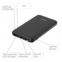 Budi - Power bank 10 000 mAh, USB QC 3.0 18W + USB-C Power Delivery + Lightning (Czarny)