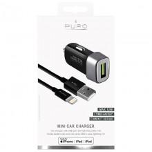 PURO Mini Car Fast Charger - Ładowarka samochodowa 5 V / 2.4 A - 12 W + kabel Lightning MFi 1 m (czarny)