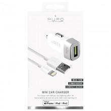 PURO Mini Car Fast Charger - Ładowarka samochodowa 5 V / 2.4 A - 12 W + kabel Lightning MFi 1 m (biały)