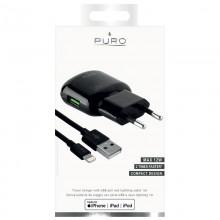 PURO Mini Travel Fast Charger - Ładowarka sieciowa USB + kabel Lightning MFi 1 m, 2,4 A, 12 W (czarny)