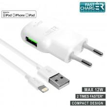 PURO Mini Travel Fast Charger - Ładowarka sieciowa USB + kabel Lightning MFi 1 m, 2,4 A, 12 W (biały)