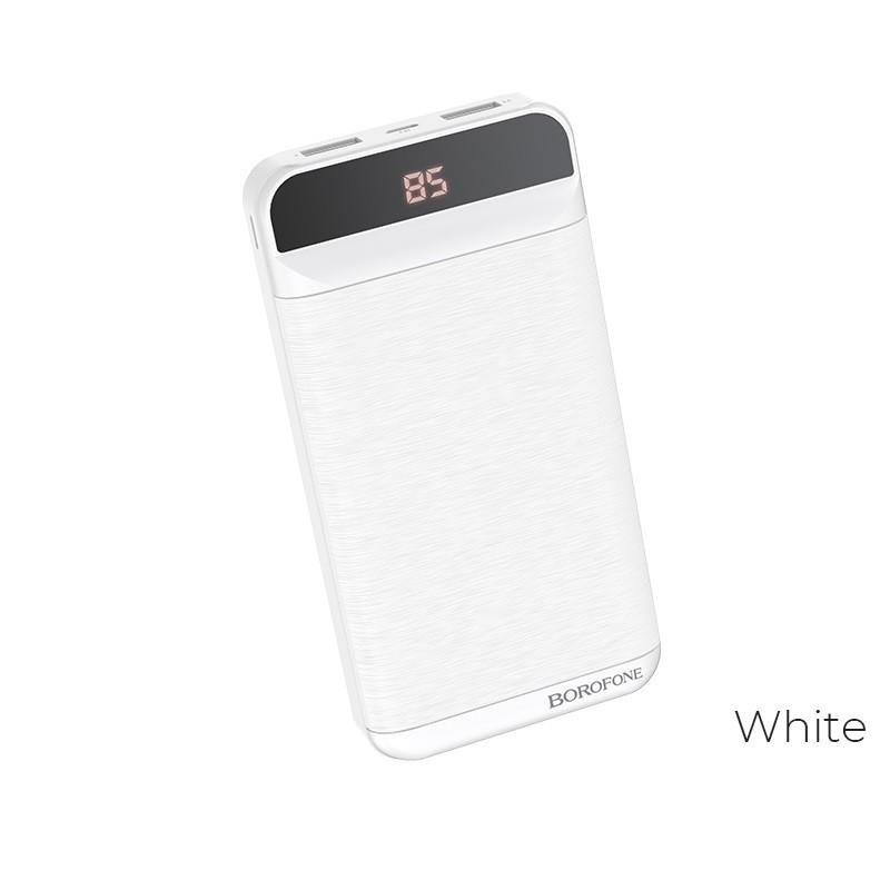Borofone - power bank 20 000 mAh 74Wh wyświetlacz LCD, biały