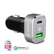 Crong Power Car Charger 63W - Ładowarka samochodowa USB-C PD 45W + USB 18W QuickCharge 3.0 (aluminium)