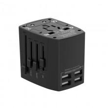Budi - Ładowarka sieciowa w formie adaptera podróżnego, 4x USB (Czarny)