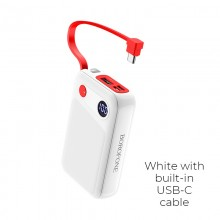 Borofone - power bank 10 000 mAh 37Wh z wyświetlaczem LCD i kablem USB-C, biały