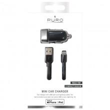 PURO Mini Car Charger - Ładowarka samochodowa 5 V / 1 A - 5 W + kabel Lightning MFi 1 m (czarny)