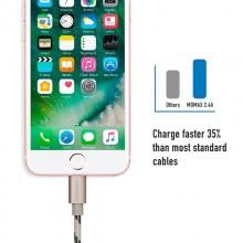 Momax Elite link - Kabel połączeniowy USB do Lightning MFi + elastyczny stojak, 2.4 A, 1 m (Golden)