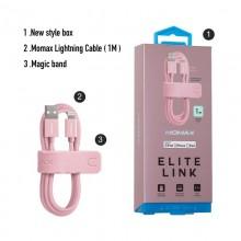 Momax Elite link - Kabel połączeniowy USB do Lightning MFi + elastyczny stojak, 2.4 A, 1 m (Rose Gold)