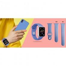 PURO ICON - Elastyczny pasek sportowy do Apple Watch 42 / 44 mm (S/M & M/L) (granatowy)