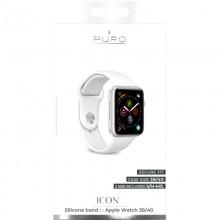 PURO ICON - Elastyczny pasek sportowy do Apple Watch 38 / 40 mm (S/M & M/L) (biały)