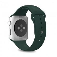 PURO ICON - Elastyczny pasek sportowy do Apple Watch 42 / 44 mm (S/M & M/L) (ciemnozielony)