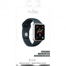 PURO ICON - Elastyczny pasek sportowy do Apple Watch 42 / 44 mm (S/M & M/L) (Navy Blue)