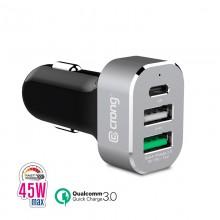 Crong Power Car Charger 45W - Ładowarka samochodowa USB-C Power Delivery + 2xUSB (aluminium)