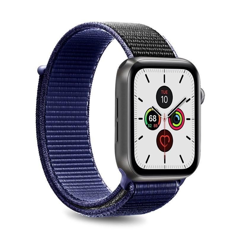PURO Nylon - Pasek do Apple Watch 42 / 44 mm (Granatowy/Czarny)