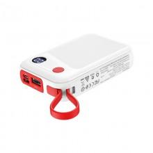 Borofone - power bank 10 000 mAh 37Wh z wyświetlaczem LCD i kablem micro USB, biały