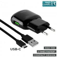 PURO Travel Fast Charger - Ładowarka sieciowa USB + kabel USB-C 1 m, 3.0 A, 15 W (czarny)