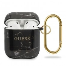 Guess Marble - Etui Airpods (czarny)