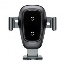 Baseus Metal Wireless Charger Gravity Car Mount - Grawitacyjny uchwyt samochodowy z ładowaniem bezprzewodowym QI (czarny)