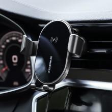 Borofone - uchwyt samochodowy z ładowarką bezprzewodową Qi 10W na kratkę nawiewu, czarny