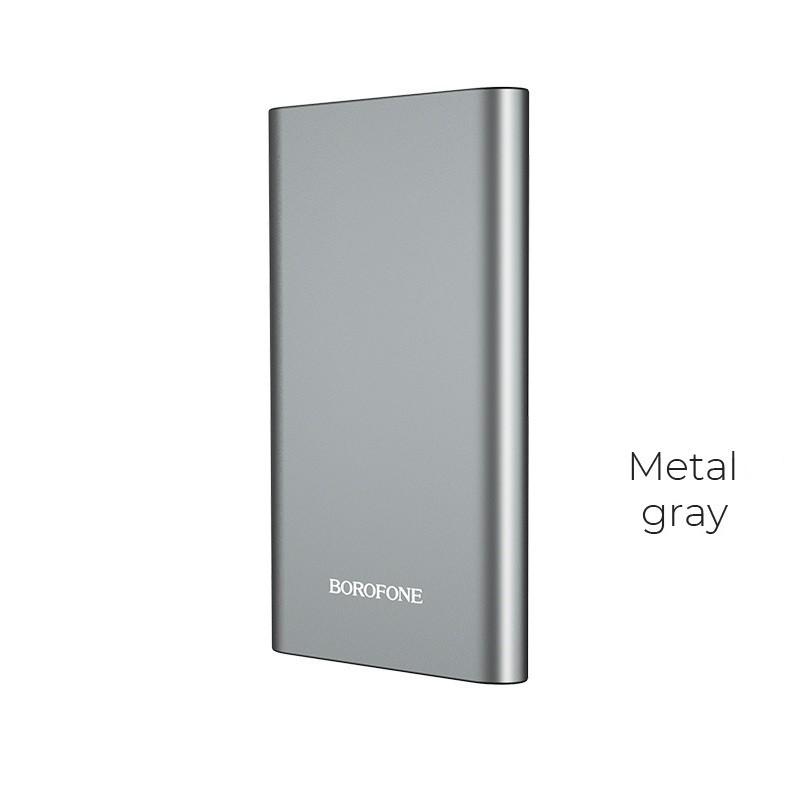 Borofone - power bank 10 000 mAh 37Wh aluminiowa obudowa, szary