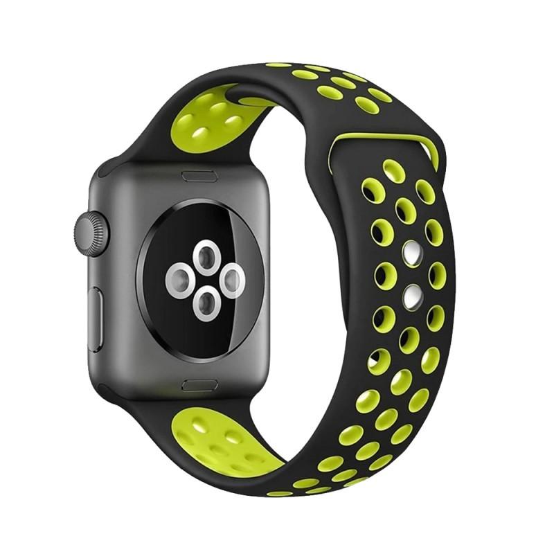 Crong Duo Sport - Pasek do Apple Watch 42/44 mm (czarny/limonkowy)
