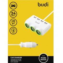 Budi - Ładowarka samochodowa 4x USB, 24W + 3x rozdzielacz gniazda zapalniczki (Biały)