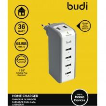 Budi - Ładowarka sieciowa z obrotową wtyczką, 6x USB, 36W (Biały)