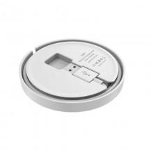Budi - Ładowarka bezprzewodowa Qi 10W + wbudowany kabel (Biały)