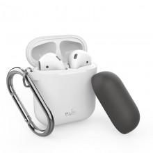 PURO ICON Case with hook - Etui Apple AirPods 1 & 2 generacji z dodatkową osłonką i karabińczykiem (White + Dark Grey Cap)