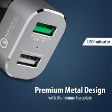 Crong Power Car Charger 30W - Ładowarka samochodowa USB QuickCharge 3.0 + USB 2.4A (aluminium)