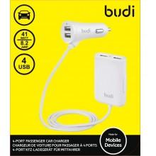 Budi - Ładowarka samochodowa 4x USB, 41W + rozdzielacz na kablu 1,8m (Biały)