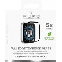 PURO Full Edge Tempered Glass - Szkło ochronne hartowane na ekran Apple Watch 4/5/6/SE 40 mm (czarna ramka)
