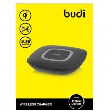 Budi - Ładowarka bezprzewodowa Qi oraz + porty USB (Czarny)