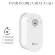 Budi - Składana ładowarka sieciowa z timerem 2x USB (Biały)