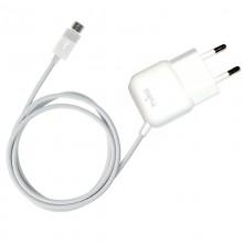 PURO Mini Travel Charger - Przenośna ładowarka sieciowa z kablem Micro USB (biały)