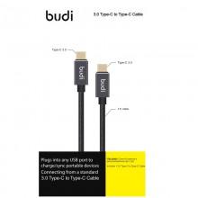 Budi - Kabel USB-C - USB-C, pozłacane wtyki, transfer do 5GB/s, 1,2 m (Czarny)